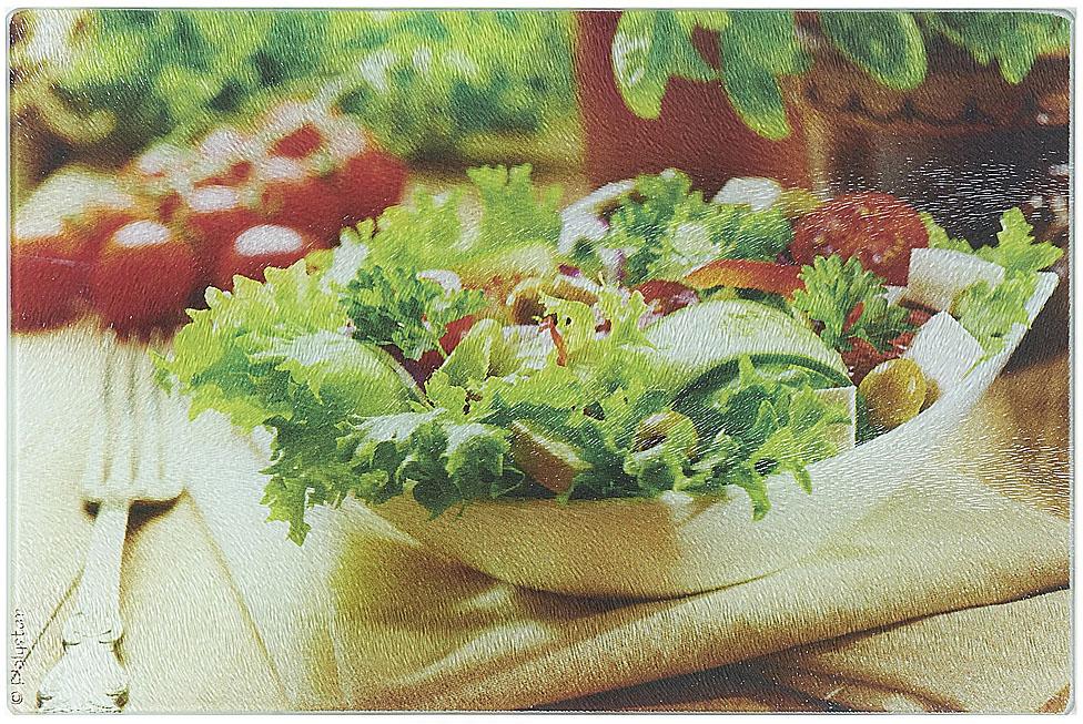 """Разделочная доска """"Греческий салат"""" изготовлена из жаропрочного стекла. Функциональная и простая в использовании, разделочная доска отлично впишется в интерьер любой кухни и прослужит вам долгие годы."""