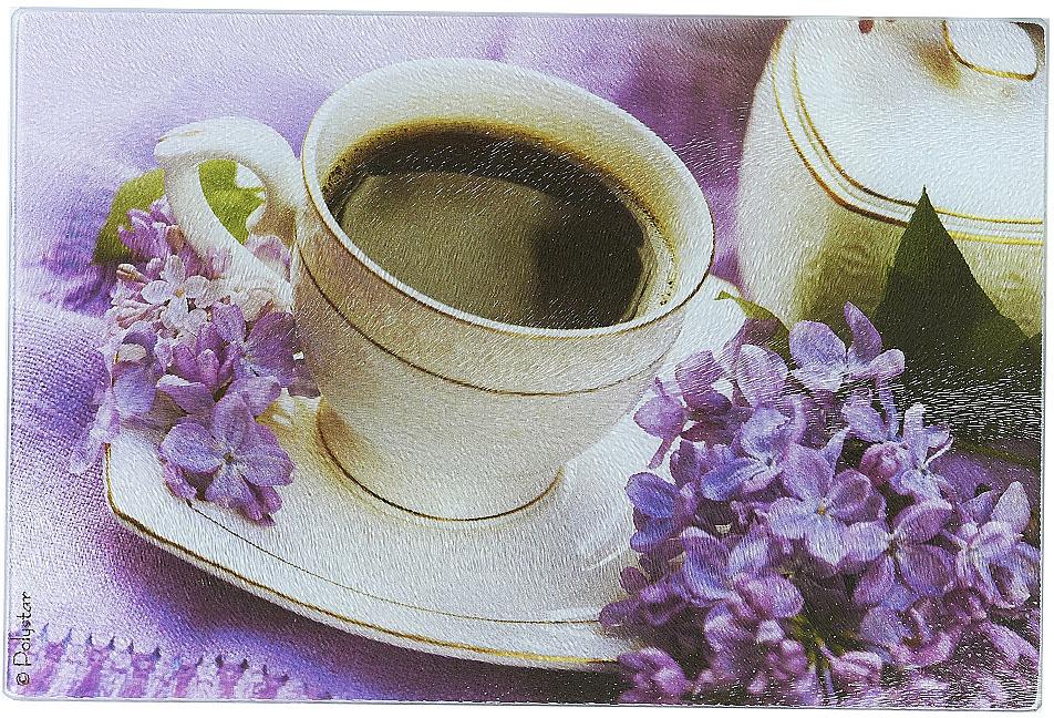 Доска разделочная Best Home Kitchen Утренний кофе, стеклянная, рифленая, 20 х 30 х 0,5 см