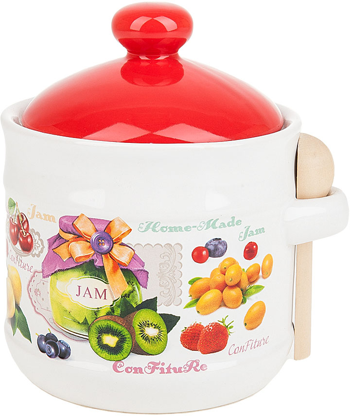 """Банка для сыпучих продуктов """"Джем"""" выполнена из керамики.  Оригинальный яркий дизайн станет эффектным акцентов в вашей кухне, а ложечка, в компактном соединении с банкой, сделает её ещё более функциональной и удобной в использовании."""