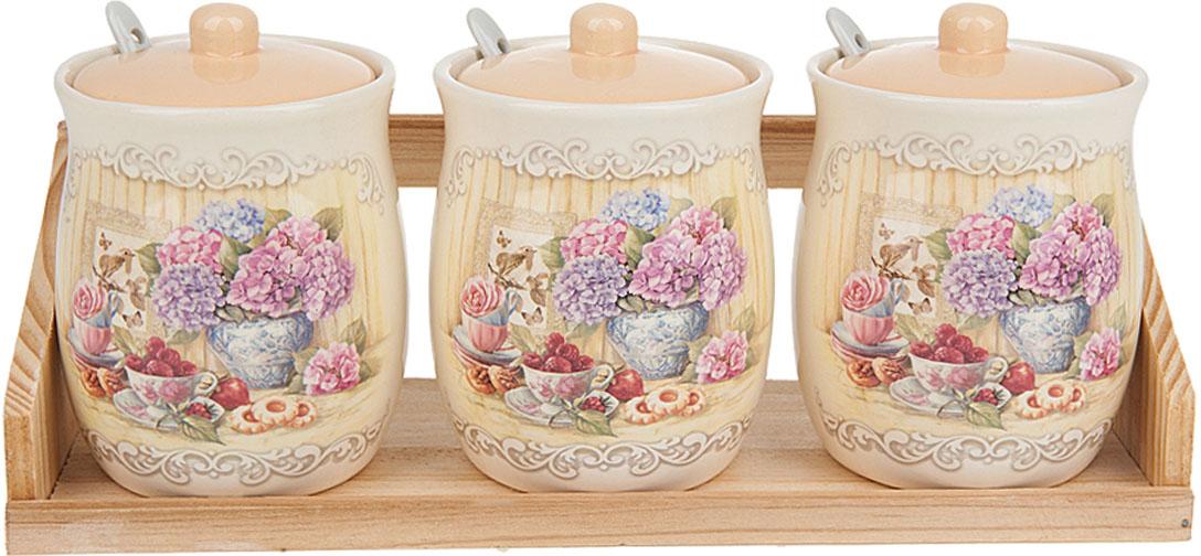 Банки для сыпучих продуктов Polystar Collection Sweet home, на подставке, с ложечками, 350 мл, 3 шт polystar чайный набор 4пр 350 мл