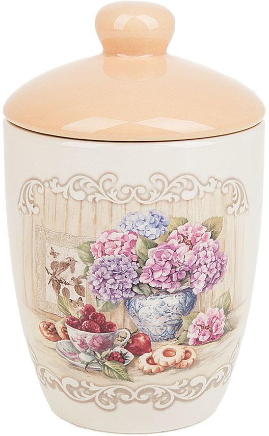 """Банка для сыпучих продуктов """"Sweet home"""" выполнена из керамики.  Изящный дизайн в нежных тонах придаст вашей кухне изысканную утонченность."""