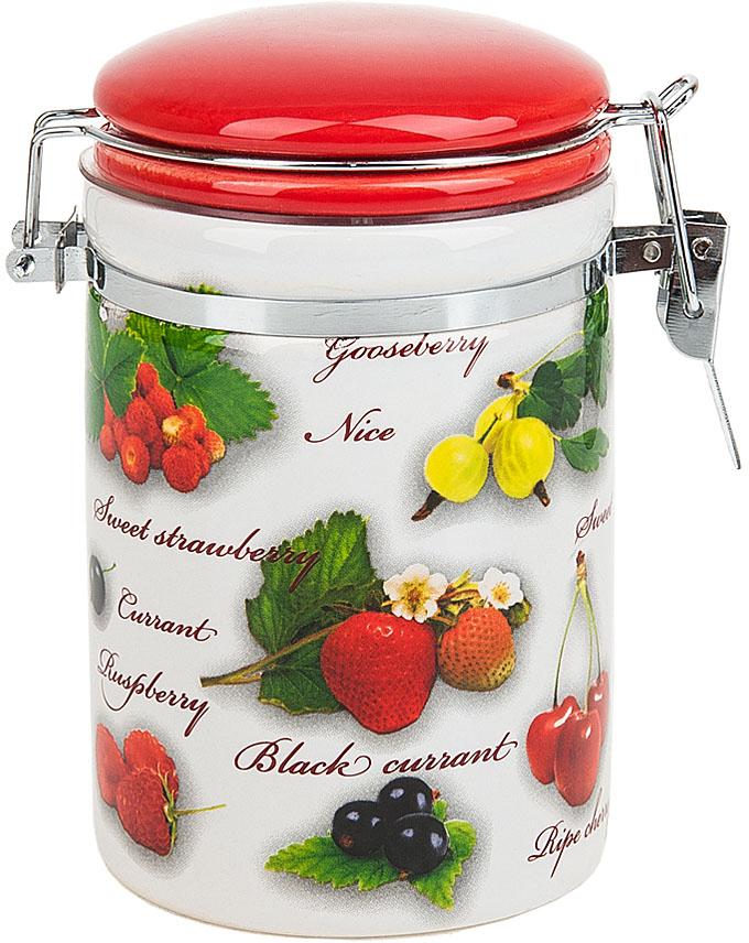 """Банка для сыпучих продуктов (клипс) """"Садовая ягода"""" выполнена из керамики.  Оригинальный яркий дизайн станет эффектным акцентов в вашей кухне."""