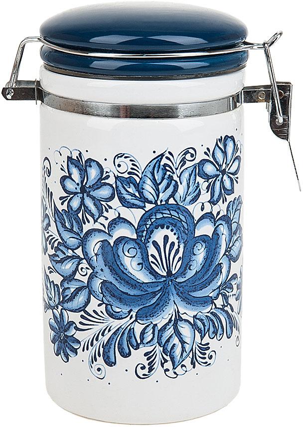 """Банка для сыпучих продуктов (клипс) """"Орнамент"""" выполнена из керамики.  Оригинальный дизайн, выдержанный в бело-синей гамме, станет эффектным акцентов в вашей кухне."""