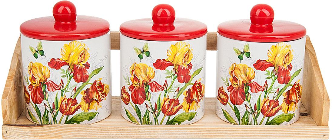 """Банки для сыпучих продуктов """"Касатик"""" выполнены из керамики.  Деревянная подставка, входящая в набор, делает его еще более функциональным и удобным в использовании.<br)Оригинальный яркий дизайн станет эффектным акцентов в вашей кухне."""