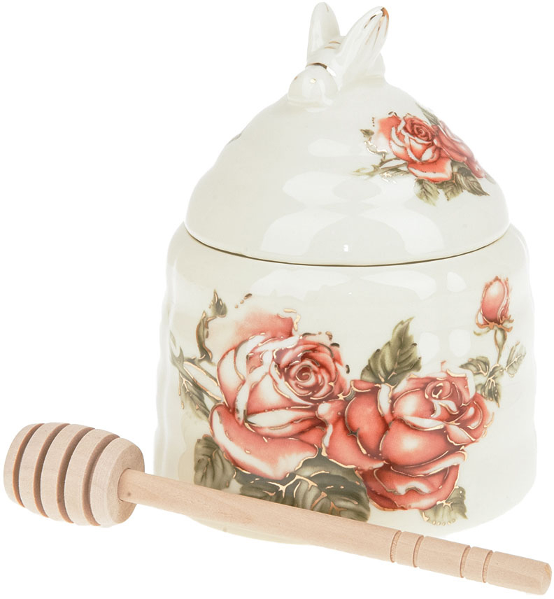 """Медовница """"Рубиновые розы"""" выполнена из фарфора. Палочка для мёда делает медовницу еще более удобной в использовании. Нежный цветочный дизайн позволит вписаться ей в любую кухню и долго радовать глаз."""