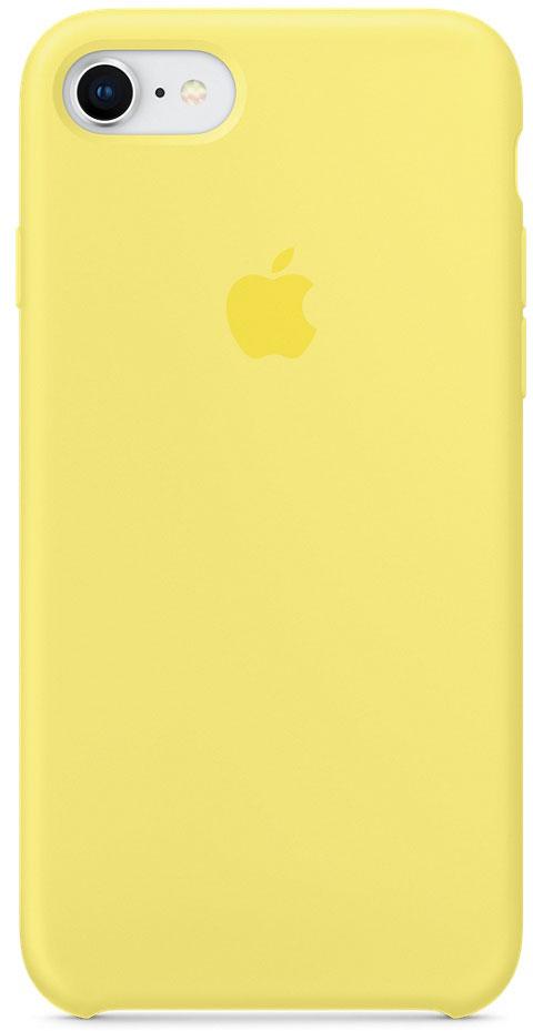 Apple Silicone Case чехол для iPhone 7/8, LemonadeMRFU2ZM/AApple Silicone Case плотно прилегает к кнопкам громкости и режима сна, точно повторяет контуры телефона, но при этом не делает его громоздким. Мягкая подкладка из микроволокна защищает корпус iPhone. А его внешняя силиконовая поверхность очень приятна на ощупь.