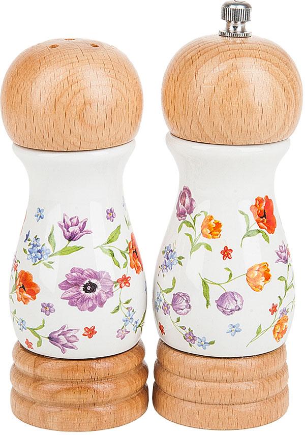 Солонка и мельница для перца Nouvelle De France Разноцветные тюльпаны, 5 х 5 х 14,5 см, 2 предмета