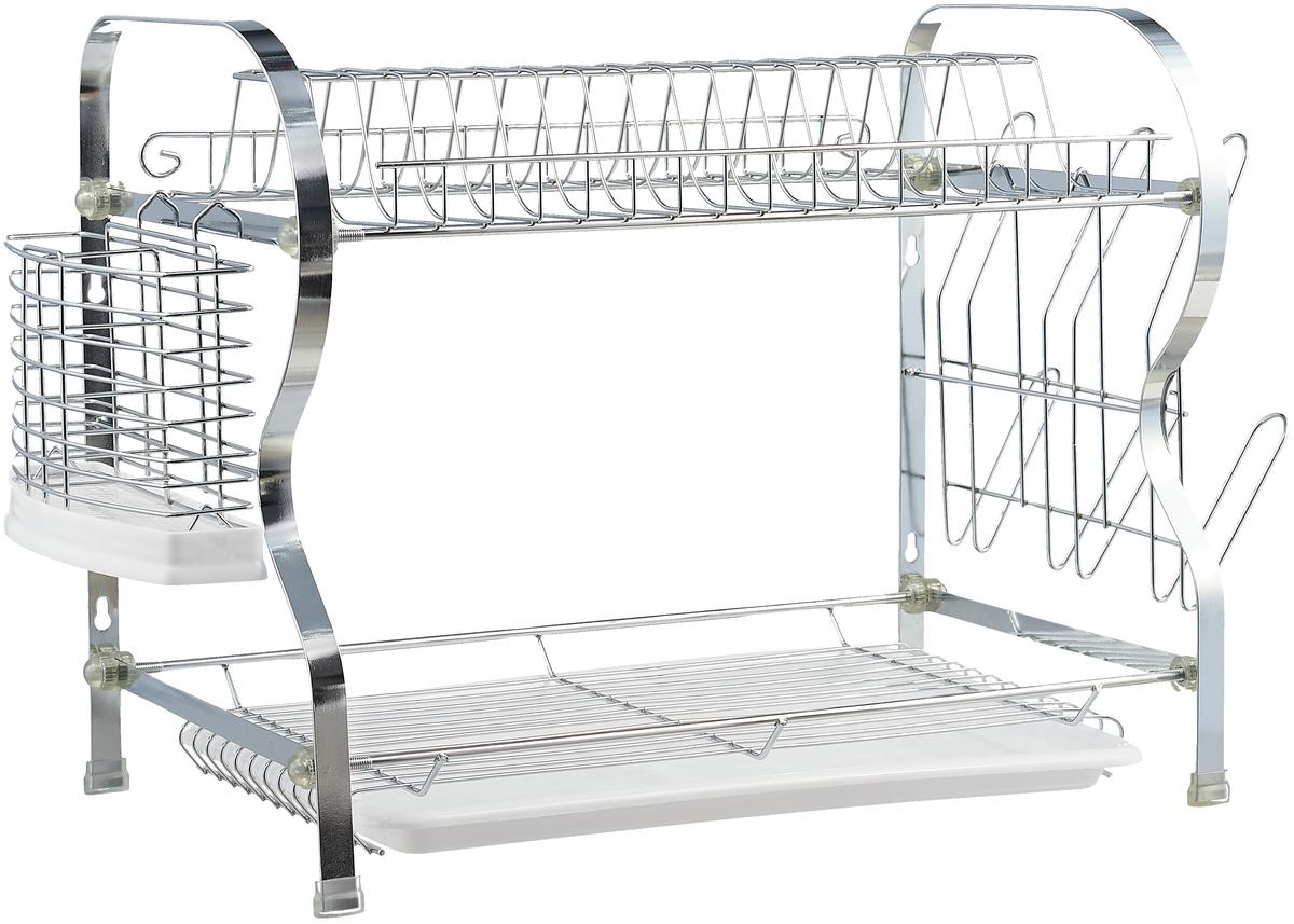 Двухъярусная сушилка для посуды MAYER&BOCH выполнена из высококачественной нержавеющей хромированной стали и пластика. В сушилке предусмотрены отделения для тарелок, чашек и столовых приборов. Благодаря конструкции с вместительным поддоном для сбора воды, Вы не будете тратить время на вытирание посуды после мытья. Стальная часть конструкции защищена от коррозии хромированным покрытием, что гарантирует ей продолжительное время эксплуатации и эстетичный внешний вид. Сушилка для посуды станет незаменимым помощником на кухне. Компактность сушилки позволит расположить ее по Вашему усмотрению - на свободном крыле мойки, на столешнице или в навесных шкафах кухонного гарнитура. Оригинальный и современный внешний вид идеально дополнит интерьер кухонного пространства.