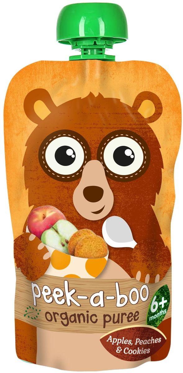 Peek-a-boo пюре органическое фруктовое из яблок, персиков со вкусом печенья, с 6 месяцев, 113 г peek a boo пюре органическое груша манго с 6 месяцев 113 г