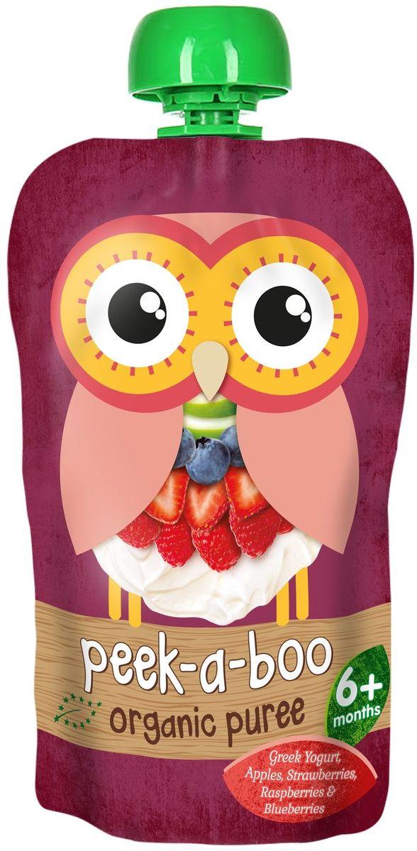 Peek-a-boo пюре органическое фруктово-йогуртное Греческий йогурт с ягодами, с 6 месяцев, 113 г peek a boo пюре органическое яблоко с 4 месяцев 113 г