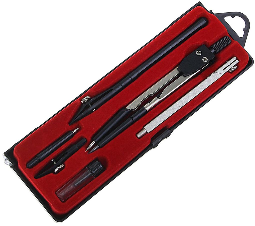 Calligrata Готовальня цвет черный серый металлик красный 6 предметов 1269057 -  Чертежные принадлежности