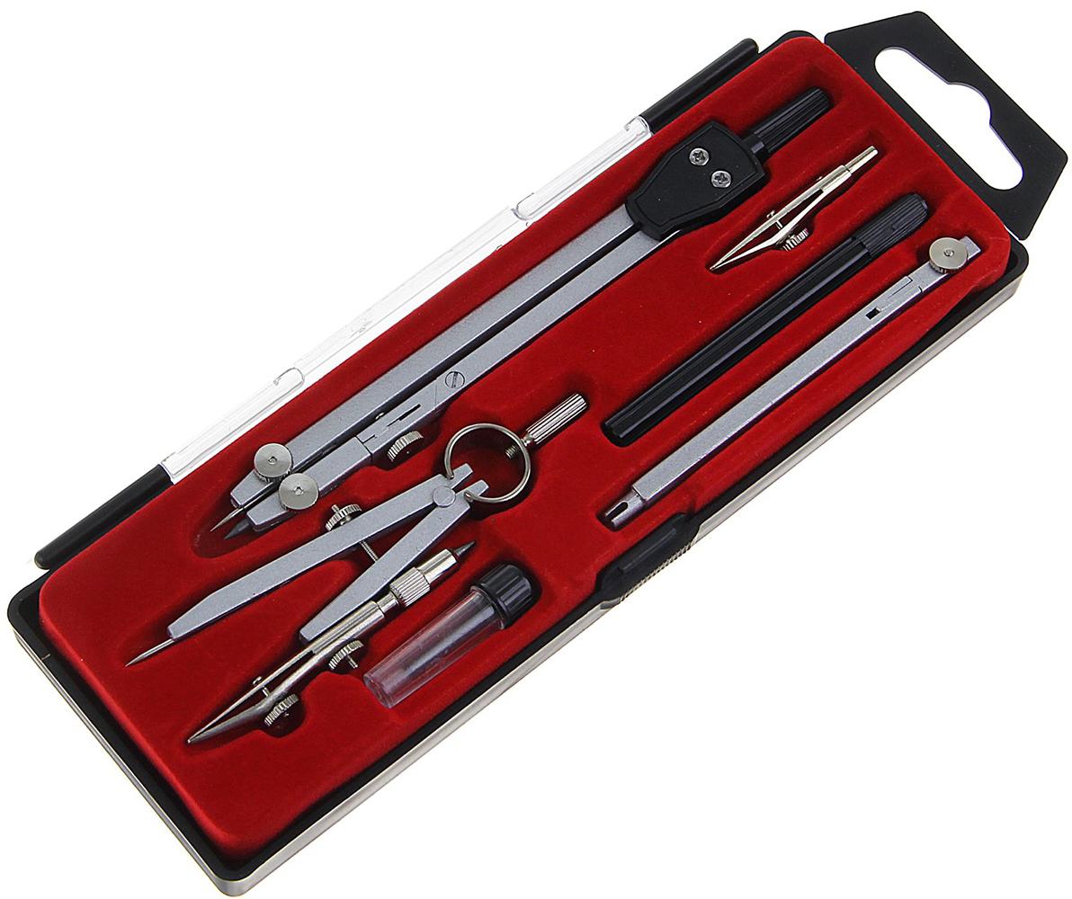 Calligrata Готовальня цвет черный серый металлик красный 6 предметов 1269058 -  Чертежные принадлежности