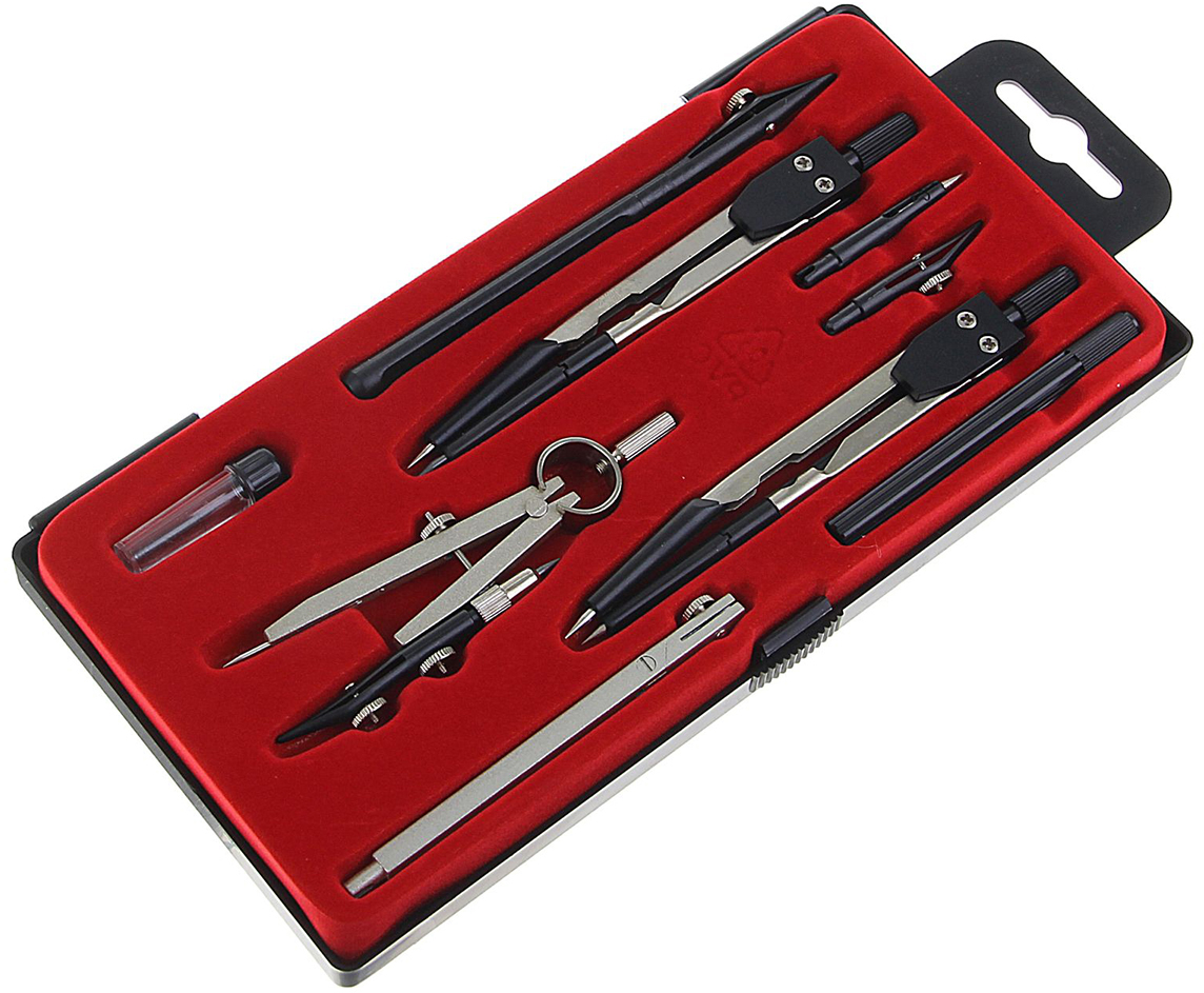 Calligrata Готовальня цвет серый металлик черный красный 9 предметов 1269061 -  Чертежные принадлежности