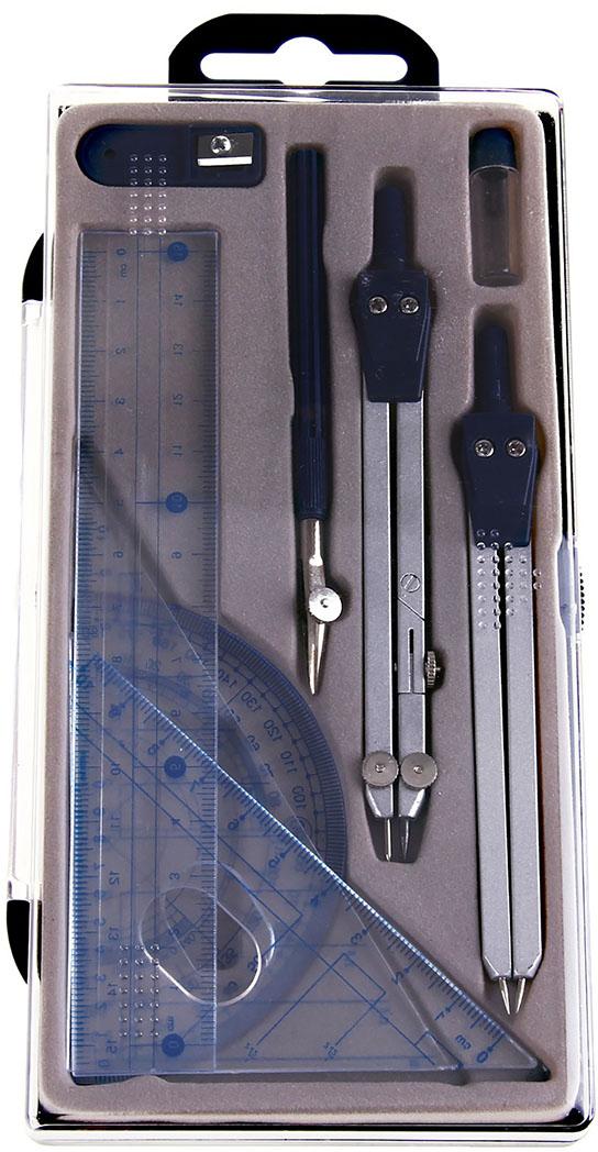 Готовальня цвет серый серый металлик 9 предметов 127721 -  Чертежные принадлежности