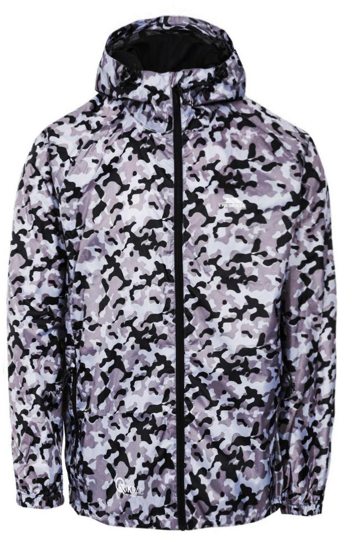 Дождевик мужской Trespass Qikpac_Jacket, цвет: серый, черный. UAJKRAM30002. Размер XL (54)UAJKRAM30002Мужской дождевик Trespass выполнен из высококачественного материала и оформлен принтом. Модель с капюшоном и длинными рукавами застегивается на молнию. Модель дополнена двумя карманами на молнии. Капюшон дополнен эластичным шнурком со стопперами.