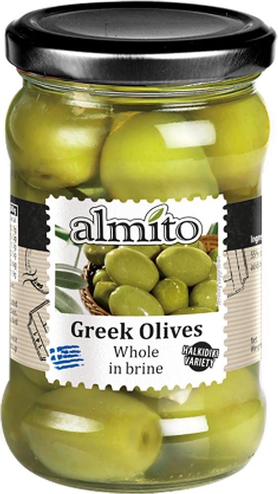 Almito Греческие оливки с косточкой, 320 мл almito греческий маринованный зеленый перец 320 мл