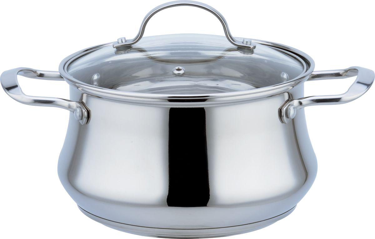 7,0 л, 24 см, высота 15,5 см. Толщина стенки 0,5 мм, дна - 3 мм. Стеклянная крышка с паровыпуском. Зеркальная поверхность, капсулированное дно. Подходит для индукционных плит и чистки в посудомоечной машине. Состав: нержавеющая сталь.