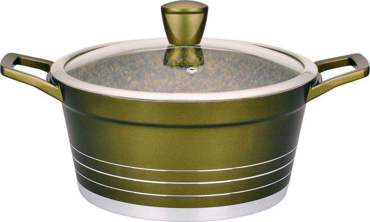 2,3 л, 20 см, толщина стенки 2,3 мм, дна 4,5 мм. Внутри антипригарное гранитное цветное покрытие, снаружи жаростойкое лаковое цветное покрытие. Стеклянная крышка. Ручка крышки бакелитовая с покрытием Soft Touch. Подходит для индукционных плит и чистки в посудомоечной машине. Состав: литой алюминий.