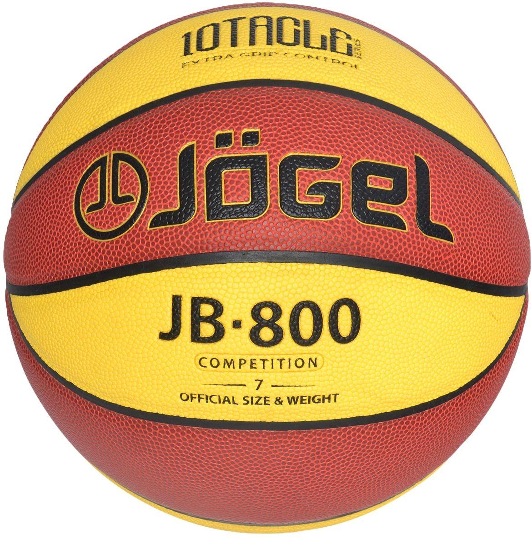 """Jogel JB-800 №7 – один из топовых мячей коллекции Jogel, вобравший в себя все лучшие технологии для комфортных тренировок и игр команд любого уровня. Это великолепный баскетбольный мяч из новой серии 10TACLE. Уникальной особенностью серии 10TACLE является дизайнерская 10-ти панельная конструкция мяча, которая дополнительно повышает """"цепкость"""" мяча во время игры и ярко выделяется своим дизайном. Поверхность мяча выполнена из современного композитного материала ACL (Absorbent Composite Leather) на основе микрофибры: пот и влага впитываются, повышается контроль мяча во время броска и дриблинга. Размер №7 предназначается для мужчин и юношей от 17 лет, это официальный размер для соревнований мужских команд. Данный мяч рекомендован для тренировок и соревнований команд высокого уровня. Официальный размер и вес FIBA."""