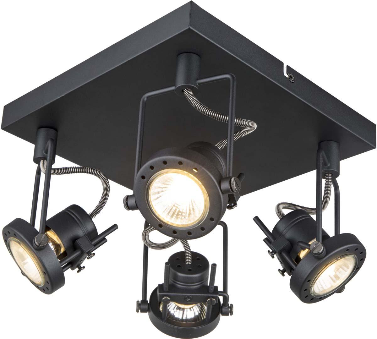 Светильник потолочный Arte Lamp Costruttore, цвет: черный, 4 х GU10, 50 W. A4300PL-4BKA4300PL-4BK