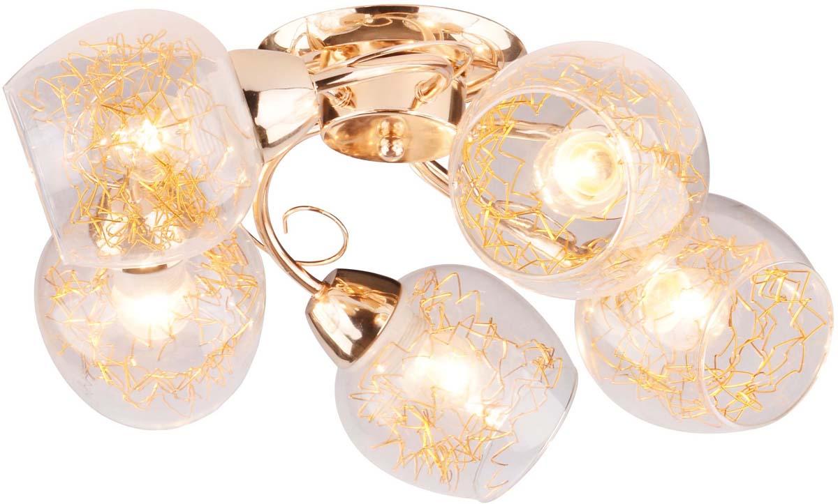 Светильник потолочный Arte Lamp Serpentina, 5 х E27, 40 W. A5006PL-5GO люстра на штанге arte lamp modello a6119pl 5go
