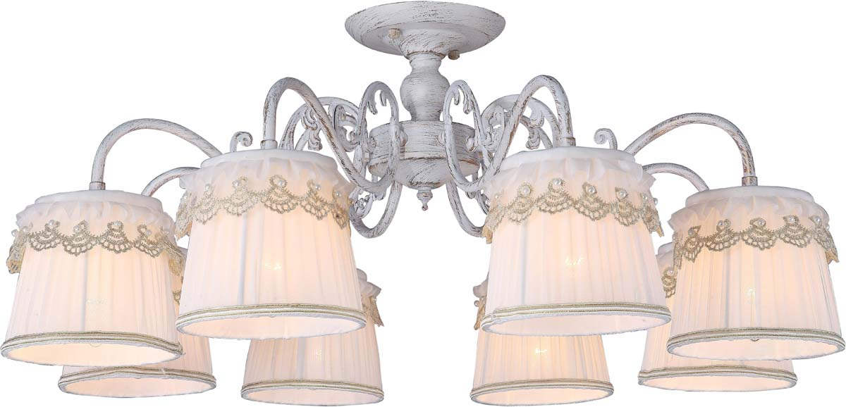 Светильник потолочный Arte Lamp Merletto, 8 х E14, 40 W. A5709PL-8WG люстра на штанге arte lamp merletto a5709pl 8wg
