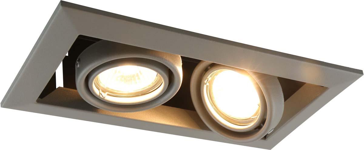Светильник встраиваемый Arte Lamp Cardani Piccolo, цвет: серый, 2 х GU10, 50 W. A5941PL-2GYA5941PL-2GY