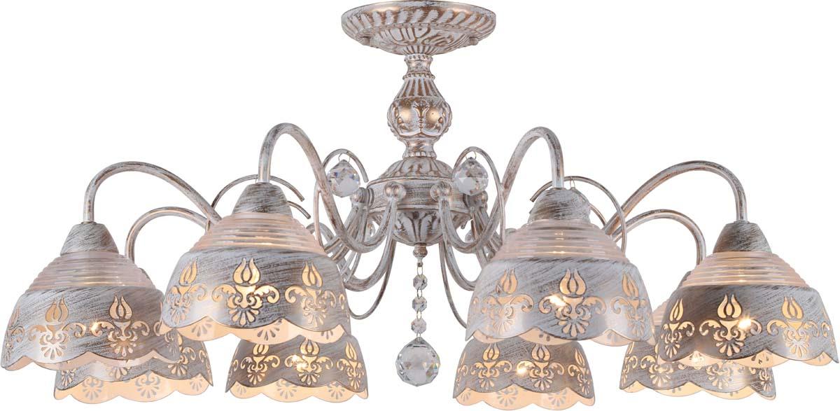 Светильник потолочный Arte Lamp Sicilia, 8 х E14, 40 W. A9106PL-8WG люстра на штанге arte lamp sicilia a9106pl 8wg