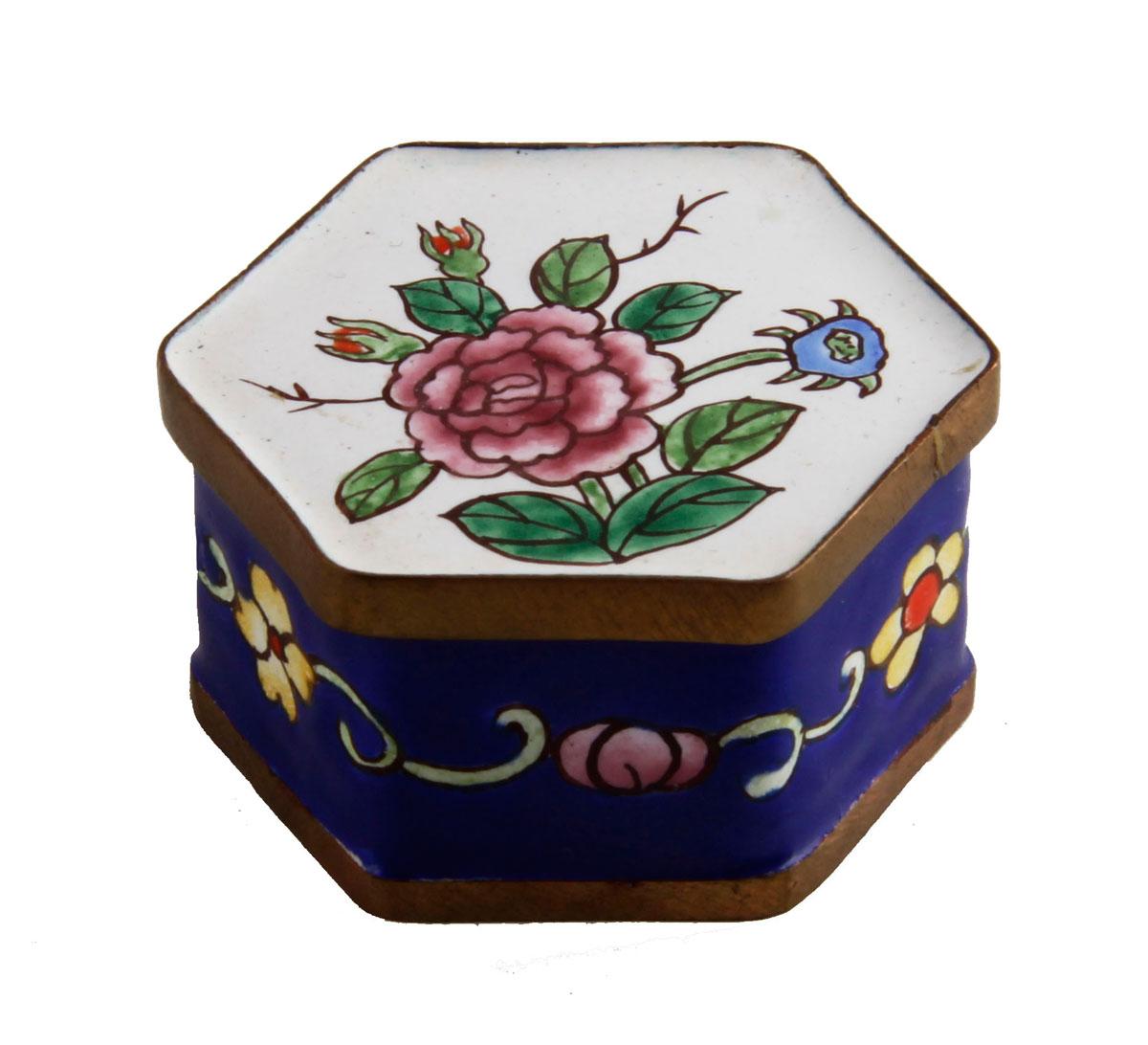 Шкатулка Цветы. Металл, эмаль, роспись. Китай, вторая половина XX века usel 34 шкатулка 34