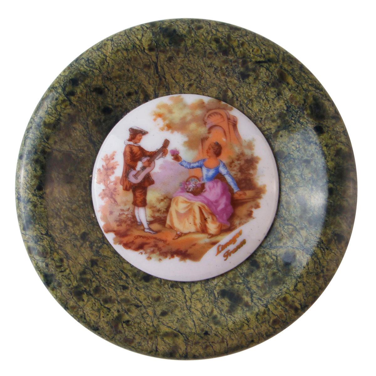 Пепельница Галантный век. Фарфор, роспись, змеевик. Limoges, Франция, вторая половина XX века