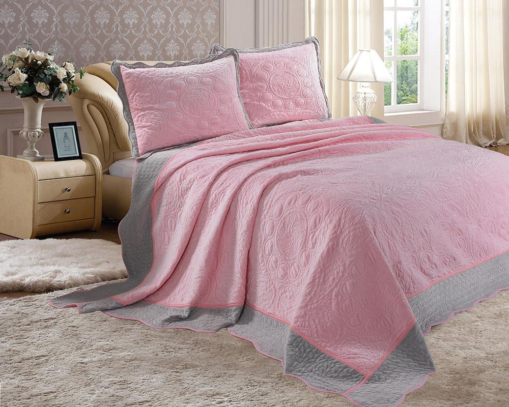"""Комплект для спальни Tango """"Montblanc"""": покрывало 240 х 260 см, наволочки 50х70 см, цвет: розовый"""