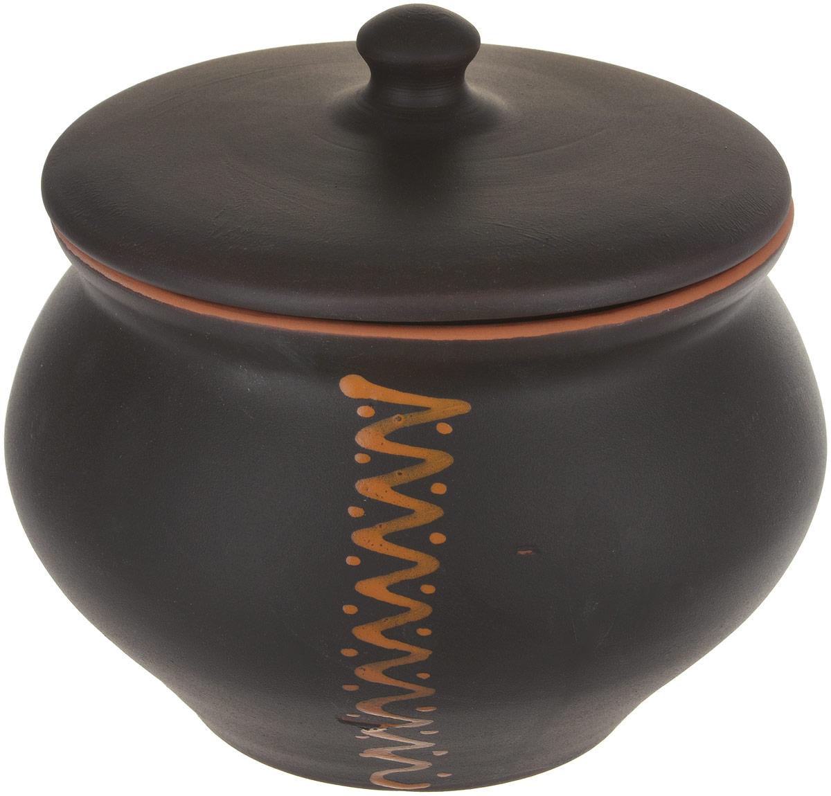 Горшочек для запекания Борисовская керамика Чугун, цвет: черный, коричневый, 1,3 л