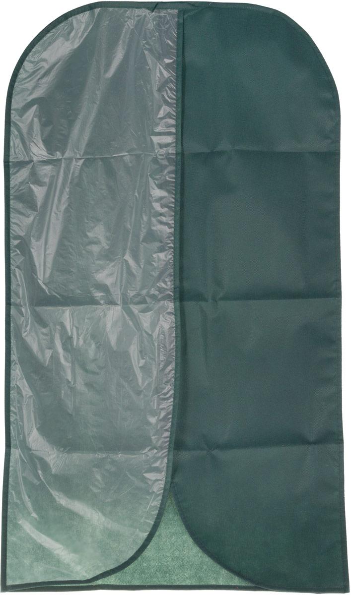 Чехол для одежды Eva, с прозрачной половиной, цвет: темно-зеленый, 60 х 100 см чехол для одежды hausmann подвесной с прозрачной вставкой цвет серый 60 х 100 см