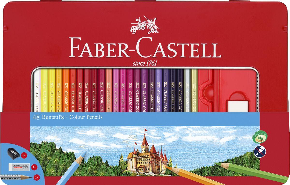 Faber-Castell Набор карандашей Замок 48 шт с ластиком и точилкой цветные карандаши bic kids evolution в металлической упаковке 12 шт