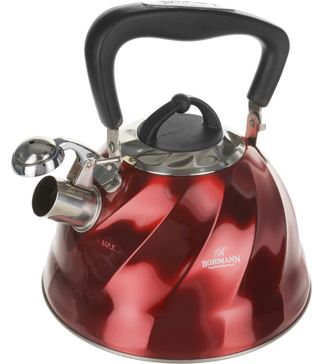 Чайник Bohmann, со свистком, цвет: красный, 2,7 л