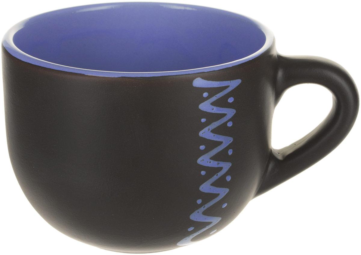 Чашка чайная Борисовская керамика Чугун, цвет: черный, голубой, 500 млЧУГ00000653_черный/голубой