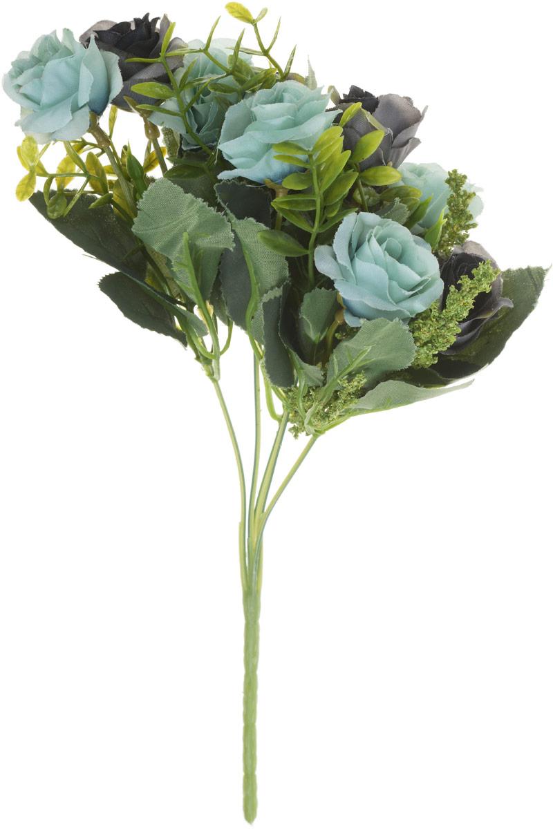 Цветы искусственные Engard Роза в букете, цвет: голубой, высота 27 см