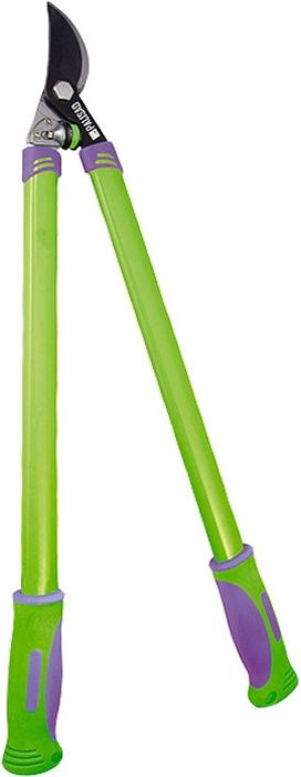 Сучкорез спрямым резом, металлические рукоятки оснащены двухкомпонентными ручками.  Овальная форма придает рукояткам дополнительную прочность на изгиб.  Предназначен для выполнения работ по уходу за садом.  Рекомендуется для дистанционной обрезки живых веток диаметром до 30 мм.  Резиновый амортизатор служит ограничителем хода сжатия, одновременно смягчая остановку инструмента ипредохраняя его от излома.  Режущее лезвие изготовлено из инструментальной стали У8, закалено иостро заточено.  Тефлоновое покрытие лезвия обеспечивает легкость реза имаксимальную защиту от коррозии.