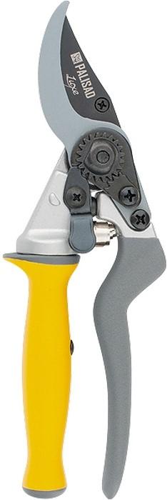 Секатор спрямым резом, обрезиненными рукоятками ибоковым фиксатором.  Нижняя рукоятка вращается вокруг своей оси, что исключает проскальзывание пальцев при работе иснижает напряжение вруке.  Предназначен для выполнения работ по уходу за садом.  Рекомендуется для обрезки живых веток диаметром до 20 мм.  Режущее лезвие изготовлено из японской стали SK5, закалено иостро заточено.  Тефлоновое покрытие лезвия обеспечивает легкость реза имаксимальную защиту от коррозии.