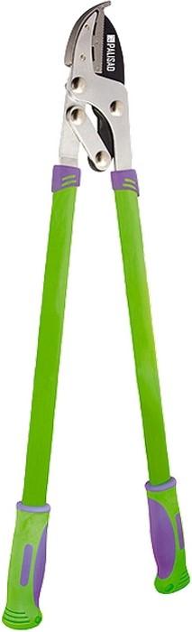 Сучкорез супорной наковальней, металлические рукоятки оснащены двухкомпонентными ручками.  Овальная форма придает рукояткам дополнительную прочность на изгиб.  Снабжен рычажным механизмом, увеличивающим режущую способность инструмента без увеличения прилагаемого усилия.  Предназначен для выполнения работ по уходу за садом.  Рекомендуется для дистанционной обрезки сухих иувядших веток диаметром до 35 мм.  Загнутый кончик наковальни удерживает ветку во время работы.  Режущее лезвие изготовлено из инструментальной стали У8, закалено иостро заточено.  Тефлоновое покрытие лезвия обеспечивает легкость реза имаксимальную защиту от коррозии.