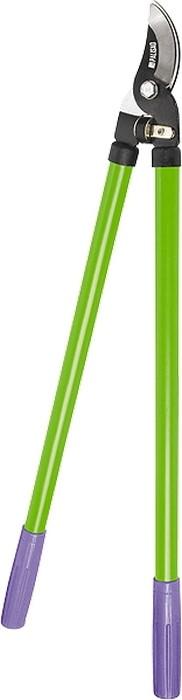 Сучкорез спрямым резом, металлические рукоятки оснащены резиновыми ручками.  Предназначен для выполнения работ по уходу за садом.  Рекомендуется для дистанционной обрезки живых веток диаметром до 30 мм.  Резиновый амортизатор служит ограничителем хода сжатия при работе, одновременно смягчая остановку инструмента ипредохраняя его от излома.  Режущее лезвие изготовлено из инструментальной стали У8, остро заточено иимеет оксидированное покрытие для защиты от коррозии.