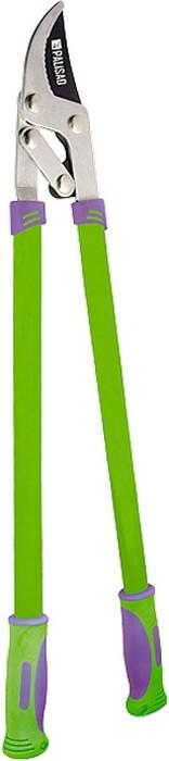 Сучкорез с прямым резом, металлические рукоятки оснащены двухкомпонентными ручками.  Овальная форма придает рукояткам дополнительную прочность на изгиб.   Снабжен рычажным механизмом, повышающим режущую способность без увеличения усилия.  Рекомендуется для дистанционной обрезки сухих и увядших веток диаметром до 35 мм.   Режущее лезвие изготовлено из инструментальной стали У8, закалено и остро заточено.  Тефлоновое покрытие лезвия обеспечивает легкость реза и максимальную защиту от коррозии.