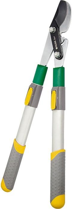 Сучкорез телескопический скосым резом.  Оснащен механизмом BONE JOINT суставного типа, что увеличивает режущую способность без увеличения усилия.  Одновременно механизм выполняет функцию ограничителя сжатия, предохраняя инструмент от поломок.  Алюминиевые телескопические рукоятки сдвухкомпонентными ручками раздвигаются вдиапазоне от 560 до 740 мм, что упрощает обрезку ветвей, расположенных втруднодоступных местах.  Овальная форма рукояток придает им дополнительную прочность на изгиб.  Предназначен для выполнения работ по уходу за садом.  Рекомендуется для дистанционной обрезки живых веток диаметром до 40 мм.  Режущее лезвие изготовлено из японской стали SK5, закалено иостро заточено.  Тефлоновое покрытие лезвия обеспечивает легкость реза имаксимальную защиту от коррозии.