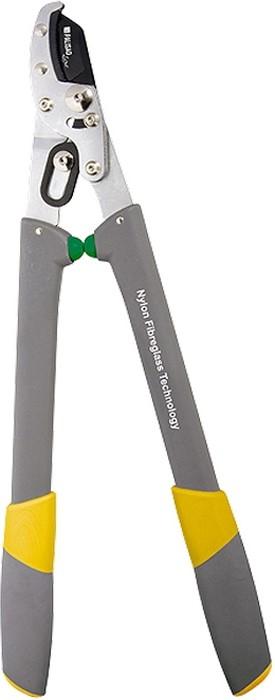 Сучкорез с упорной наковальней, облегченные рукоятки.  Верхнее режущее лезвие выполнено из японской стали SK5 и покрыто тефлоном для снижения трения.  Зубцы на наковальне удерживают ветку во время работы.  Оснащен двухрычажным механизмом, который увеличивает силу реза на 40%.  Рукоятки из армированного стекловолокном полиамида с двухкомпонентными ручками уменьшают вес изделия и облегчают работу с инструментом.  Предназначен для дистанционной обрезки живых веток деревьев и кустарников диаметром до 35мм.