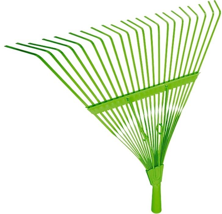 Грабли веерные усиленные, 20 плоских зубьев, охват рабочей части 450 мм.  Тулейка внутренним диаметром 25 мм.  Расположенная сверху распорка усиливает пружинящий эффект идополнительно упрочняет конструкцию.   Предназначены для сбора опавшей листвы, срезанных веток, сорняков, садового мусора.  Зубья выполнены из пружинной стали 65Г иимеют повышенную жесткость, что обеспечивает удобство вработе.  Оцинковка зубьев защищает инструмент откоррозии.