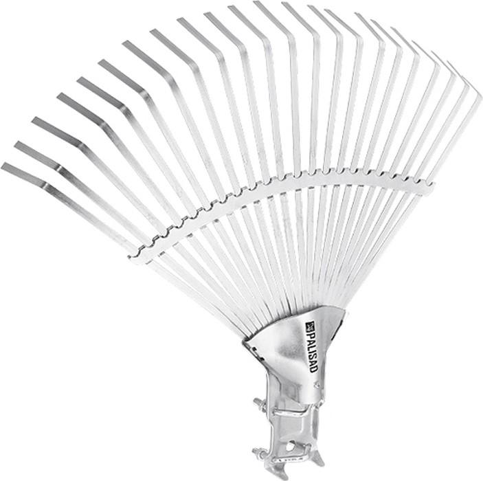 Грабли веерные Palisad, 22 зуба, без черенка, регулируемые, 320-470 мм61702Грабли веерные регулируемые, 22 плоских зуба, охват рабочей части от 320 до 470 мм.Регулируемая тулейка позволяет применять черенок диаметром от 25 до 30 мм.Секторная пластина сдвижная, позволяет изменять охват рабочей части идополнительно упрочняет конструкцию. Предназначены для сбора опавшей листвы, срезанных веток, сорняков, садового мусора.Зубья выполнены из пружинной стали 65Г иимеют повышенную жесткость, что обеспечивает удобство вработе.Оцинковка зубьев защищает инструмент откоррозии.
