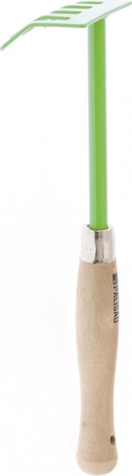 """Грабли """"Palisad"""" пятизубые с эргономичной деревянной рукояткой. Предназначены для сбора срезанных побегов, рыхления и выравнивания почвы на небольших грядках и клумбах.  Рабочая часть выполнена из инструментальной стали У8 и окрашена порошковой эмалью для предохранения от коррозии.  Рукоятка выполнена из вяза и для защиты пропитана маслом.  По окончании работы необходимо очистить рабочую часть инструмента от остатков грунта.  Ширина рабочей части 90 мм, общая длина 340 мм."""