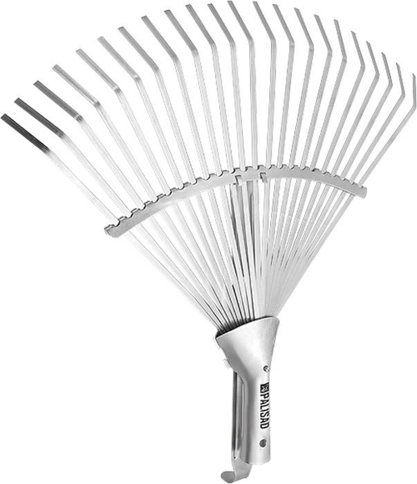 Грабли веерные регулируемые, 22 плоских зуба, охват рабочей части от 270 до 460 мм.  Тулейка позволяет применять черенок диаметром 25 мм.  Секторная пластина сдвижная, позволяет изменять охват рабочей части и дополнительно упрочняет конструкцию.  Предназначены для сбора опавшей листвы, срезанных веток, сорняков, садового мусора.  Зубья выполнены из пружинной стали 65Г и имеют повышенную жесткость, что обеспечивает удобство в работе.  Оцинковка зубьев защищает инструмент от коррозии.