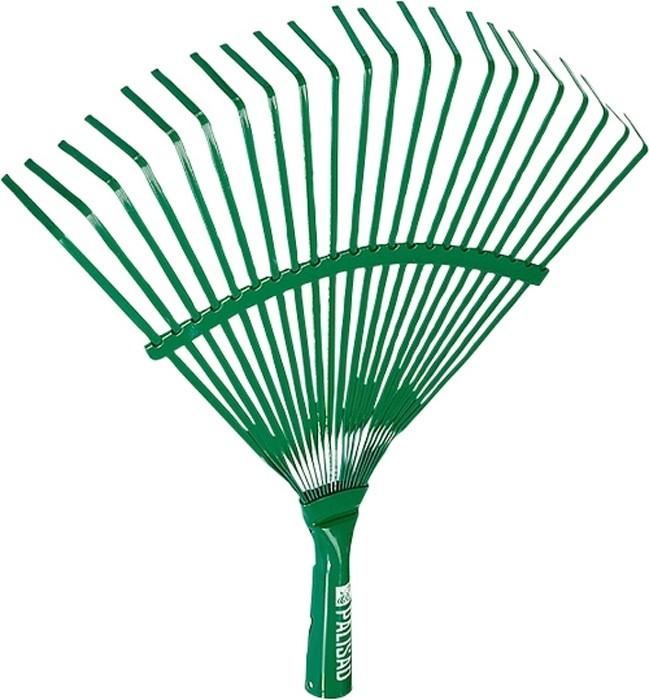 """Грабли веерные """"Palisad"""" предназначены для сбора опавшей листвы, срезанных веток, сорняков, садового мусора.  Плоские зубья выполнены из пружинной стали 65Г, окрашены и имеют повышенную жесткость, что обеспечивает удобство в работе и защиту от коррозии. Внутренний диаметр тулейки 25 мм. 22 плоских зуба, охват рабочей части 430 мм.Секторная пластина дополнительно упрочняет конструкцию."""
