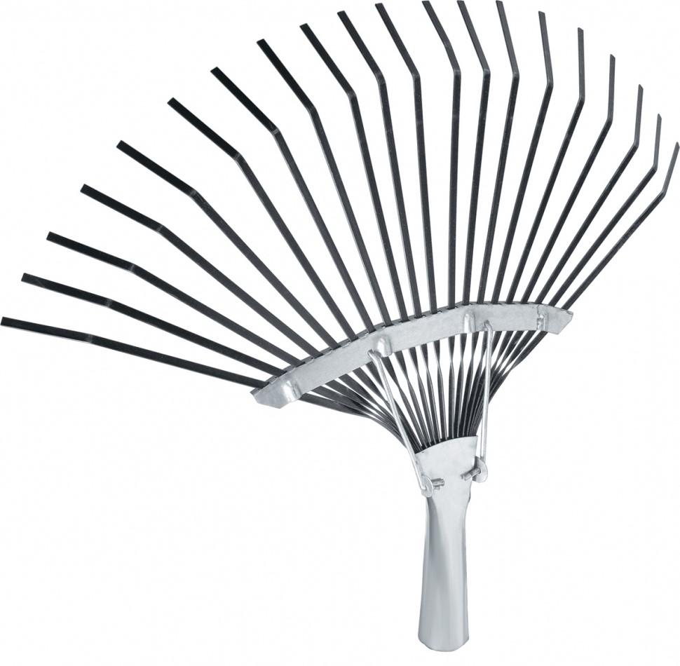 Грабли веерные усиленные, 20 плоских зубьев, охват рабочей части 400 мм.  Тулейка внутренним диаметром 25 мм.  Расположенная сверху распорка усиливает пружинящий эффект идополнительно упрочняет конструкцию.   Предназначены для сбора опавшей листвы, срезанных веток, сорняков, садового мусора.  Зубья выполнены из пружинной стали 65Г иимеют повышенную жесткость, что обеспечивает удобство вработе.  Оксидирование зубьев защищает откоррозии.